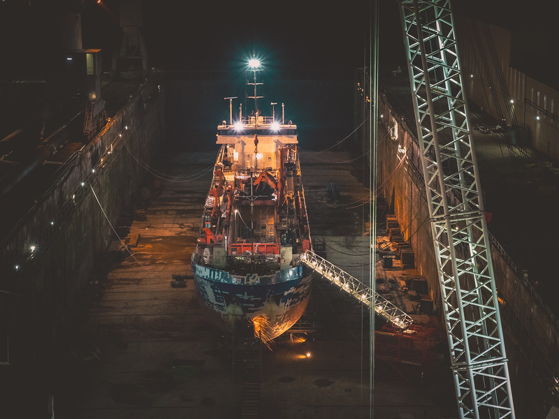 Some night shots of work operations at Falmouth Docks. The docks are situated at the southern shore of the Fal Estuary which is the third largest natural harbour in the world and the deepest in Europe. 2019