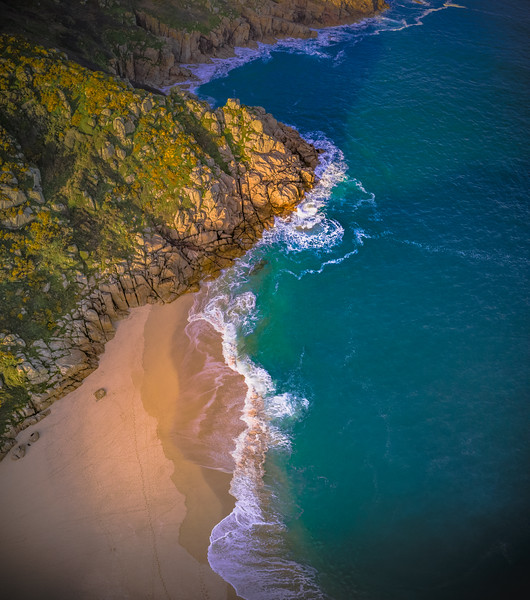 Aerial of Porthcurno, Cornwall