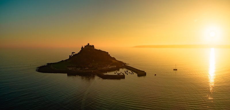 The beautiful St Michael's Mount as the sun goes down, Cornwall
