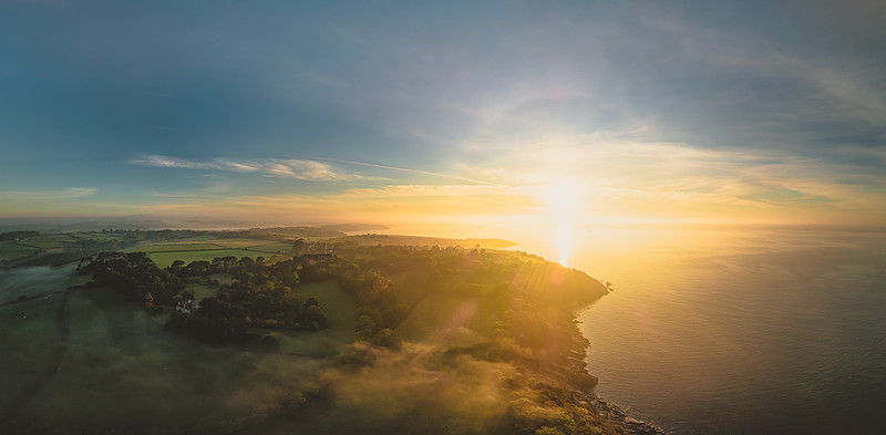 Helford Passage sunrise. Aerial Panoramic, Cornwall 2020