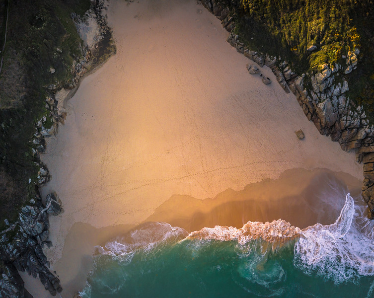 Aerial view of Porthcurno beach..