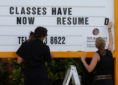 28 MAR 2006 INNISFAIL, QLD - The town of Innisfail is starting to return to normal a week after Larry's onslaught.  Classes at the TAFE college have resumed - PHOTO: CAMERON LAIRD (Ph: 0418238811)