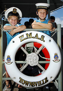 22 APR 2007 TOWNSVILLE, QLD - Wilkinson brothers Kyle, 5, and Drew, 7 onboard the HMAS Townsville berthed at Townsville Port - PHOTO: CAMERON LAIRD (Ph: 0418 238811)