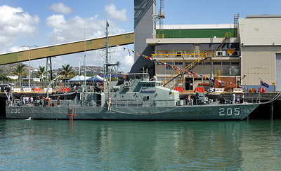 22 APR 2007 TOWNSVILLE, QLD - HMAS Townsville berthed at Townsville Port - PHOTO: CAMERON LAIRD (Ph: 0418 238811)
