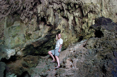 "04 MAY 2005 RAMPAPASA VILLAGE, FLORES, INDONESIA - Daily Mail journalist Richard Shears in the cave near Rampapasa where ""The Hobbit"", a skeleton of a tiny woman who lived there 18,000 years ago was found - PHOTO: CAMERON LAIRD"