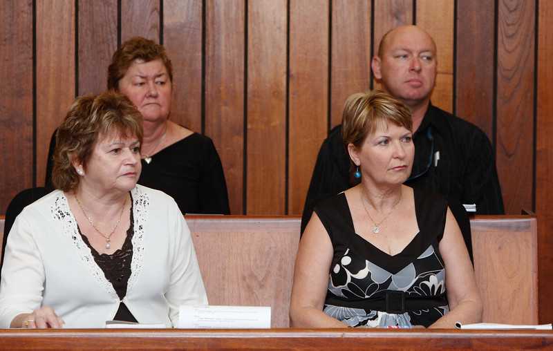 04 August 2008 Townsville, QLD - Family and relatives of the missing sailors from Kaz II during the inquest at Townsville Magistrates court.  (front left) Fran Tunstead, wife of missing man Peter Tunstead; (front right) Jenny Batten, wife of missing man Des Batten; (rear left) Marj Tunstead, wife of missing man James Tunstead; (rear right) Shane Tunstead, son of missing man James Tunstead - Photo: Cameron Laird (Ph: 0418 238811)