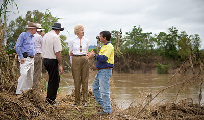 14 February 2009 Ingham, Qld - Governer General Quentin Bryce visits flood ravaged Ingham.  Her Excellency talks with Sam Torrisi who farms sugarcane in the Ingham area - Photo: Cameron Laird (Ph: 0418 238811)