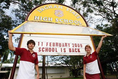 11 February 2009 Ingham, Qld - Ingham State High School reopened yesterday (11 Feb 2009) after severe flooding in the district.  Year 12 students Aaron Phillips and Alice Chiesa, both 16 - Photo: Cameron Laird (Ph: 0418 238811)