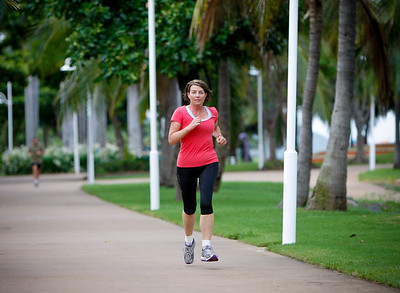 24 February 2009 Townsville, Qld - Queensland premier Anna Bligh takes a morning run along Townsville's Strand on the first day of campaigning - Photo: Cameron Laird (Ph: 0418 238811)
