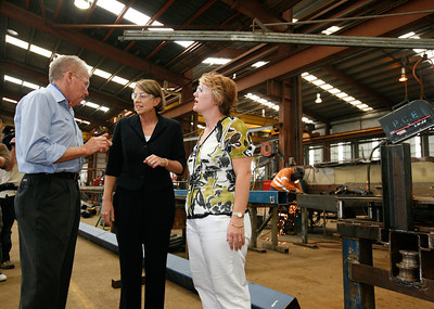 24 February 2009 Townsville, Qld - Queensland premier Anna Bligh visits Townsville firm Pacific Coast Engineering on the first day of campaigning ahead of the March 21 election.  Pictured with PCE owner George Clarke and Townsville candidate Mandy Johnstone - Photo: Cameron Laird (Ph: 0418 238811)