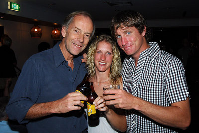"04 AUG 2006 CAIRNS, AUSTRALIA - Brit Anna Hingley and her Aussie cowboy boyfriend John Ostwald have just completed a west-east crossing of Australia on horseback.  ""Mailman"" Richard Shears congratulates Anna and John on the completion of their adventure - PHOTO: CAMERON LAIRD (PH: +61 418238811)"