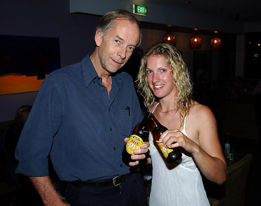 "04 AUG 2006 CAIRNS, AUSTRALIA - Brit Anna Hingley and her Aussie cowboy boyfriend John Ostwald have just completed a west-east crossing of Australia on horseback.  ""Mailman"" Richard Shears congratulates Anna on the completion of her adventure - PHOTO: CAMERON LAIRD (PH: +61 418238811)"