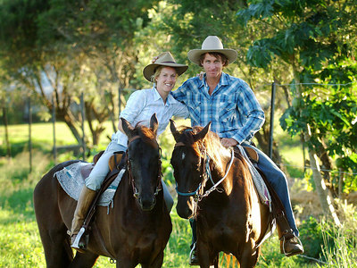 04 AUG 2006 CAIRNS, AUSTRALIA - Brit Anna Hingley and her Aussie cowboy boyfriend John Ostwald have just completed a west-east crossing of Australia on horseback - PHOTO: CAMERON LAIRD (PH: +61 418238811)
