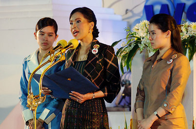 PHANG-NGA, THAILAND / 26 DEC 2005 - Thai Crown Princess Ubol Ratana who lost her son in the 2004 tsunami presides over an Interfaith Memorial Service, Bang Niang Beach, Phang-nga, Thailand - PHOTO: CAMERON LAIRD (PH +61 418238811)