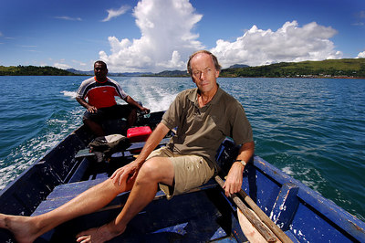 "15 APR 2006 VOROVORO ISLAND, FIJI - Daily Mail writer Richard Shears on the open boat to Vorovoro.  Shears is the first westerner to arrive after the island was chosen as the setting for a new ""eco-tribe"" - PHOTO: CAMERON LAIRD (Ph: +61 418238811)"
