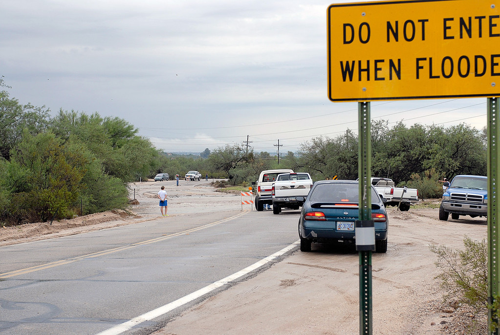 (7.31.2006 -- Tucson, AZ)  Flooding on Bear Canyon Road just south of Snyder.