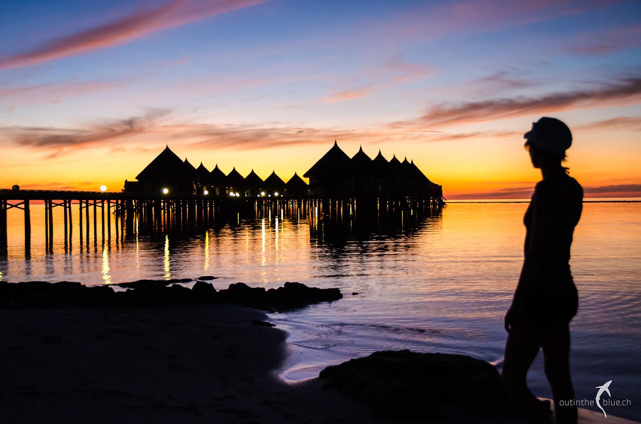 Sunset on Angaga, Overwater Bungalows, South Ari Atoll, Maldives