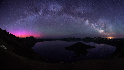 Milky Way and Aurora over Crater Lake