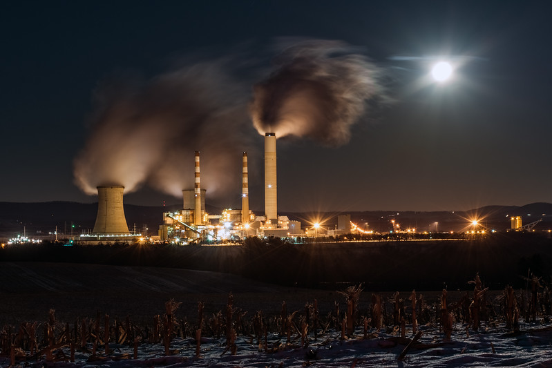 Supermoon over Montour Power Plant