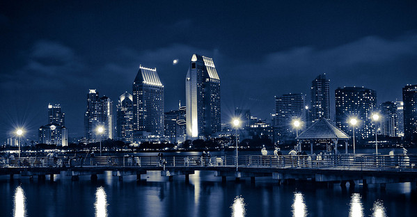 """Downtown sky line with Harbor excursion pier in foreground. This photograph won 1st. place in Poly Photo Clubs Project called """"Night"""" August 2009 ©JLCramerPhotography 2009"""