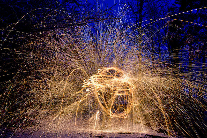 Spinning lighted steel wool creates flying sparks which can be an art form all its own.
