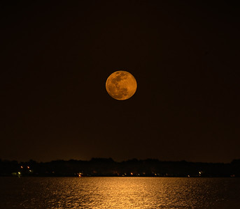 Moon Rising Over Lake Conroe from Bentwater