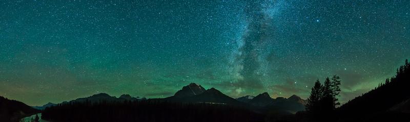 Milky Way over Mount Temple Morant's Curve, Banff National Park, Alberta, Canada