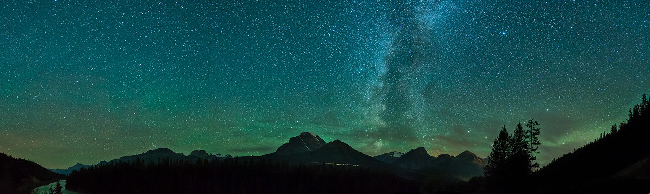 Milky Way over Mount Temple Morant's Curve, Banff National Park, Alberta, Canada