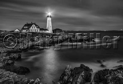 Maine Lighthouse At Sunset BW