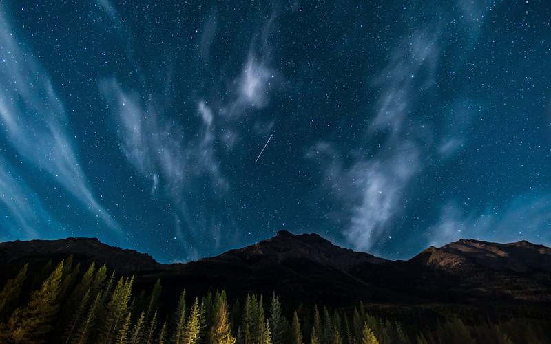 Shooting Star over Mount Whymper Kootenay National Park, Alberta, Canada