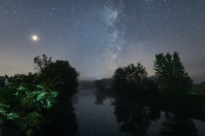 Milkyway reflection near a bridge in Quebec