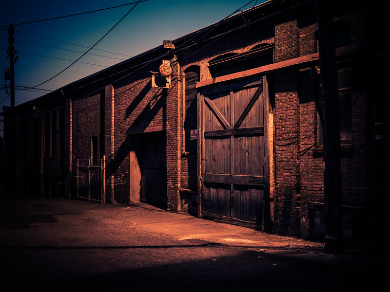 Old warehouse building at night in Georgetown, Seattle
