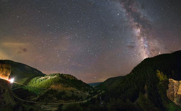 Milky Way Over Red Cliff Bridge Panorama