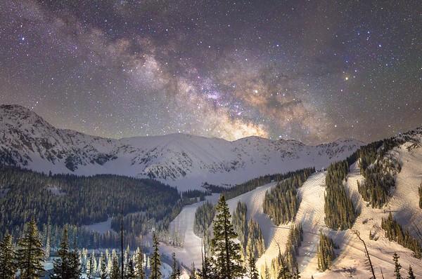 Milky Way over Arapahoe Basin Ski Area, Colorado
