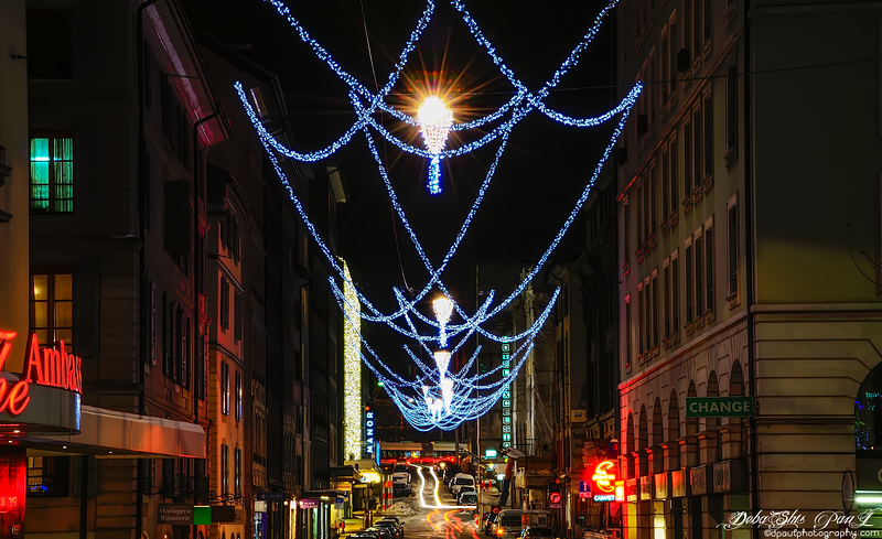 Rue Rousseau in Christmas Decoration -  Geneva, Switzerland