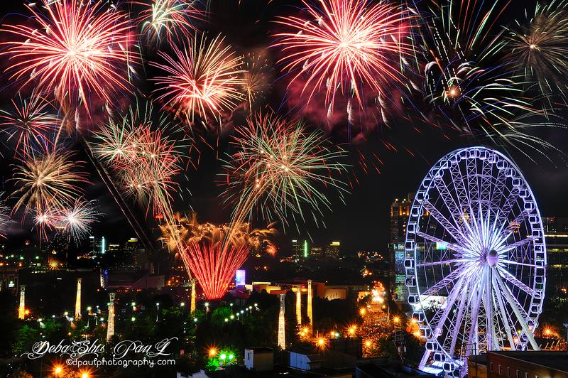 Fourth of July - USA Independence Day Fireworks in Atlanta Skyline over Centennial Olympic Park - Atlanta, Georgia - USA