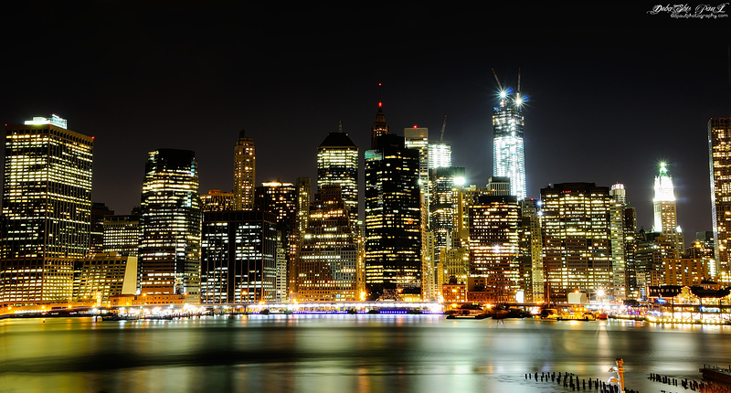 Dazzling New York City , Manhattan skyline from Brooklyn Heights - NY, USA