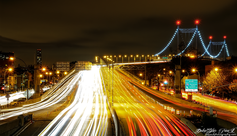 Robert F Kennedy Bridge from Astoria,Queens flyover - New York City, USA