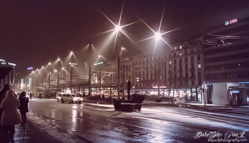 A Snowy night at  Gare Cornavin - City Geneva, Switzerland