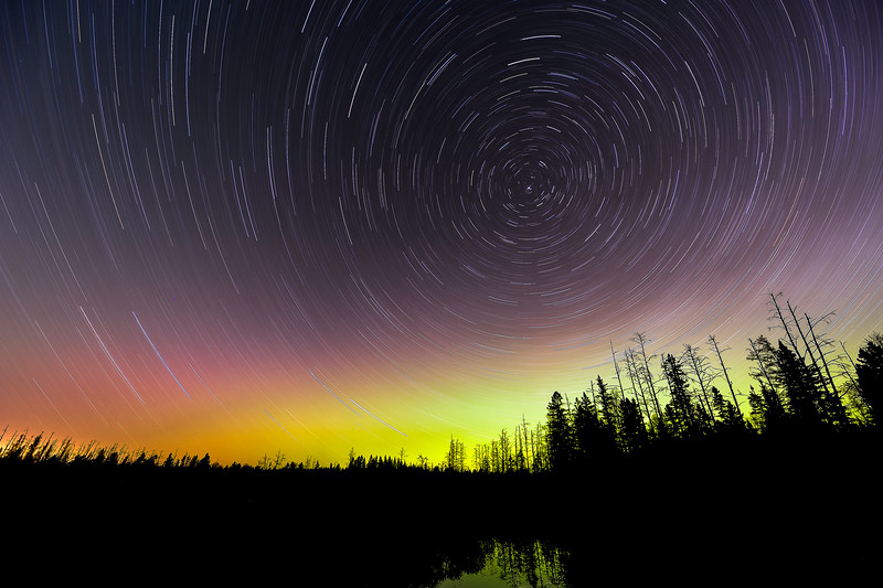 Star trails and Aurora over the Pine River 01