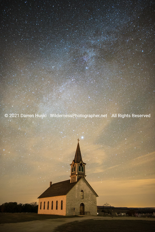 Old Rock Church and Night Sky