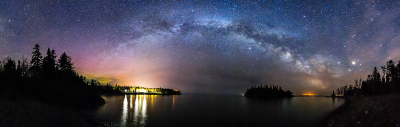 Milky Way panorama over Split Rock Lighthouse and Ellingson Island 01