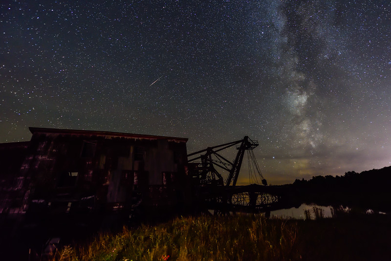 Milky Way and meteor over Quincy Dredge #2 01