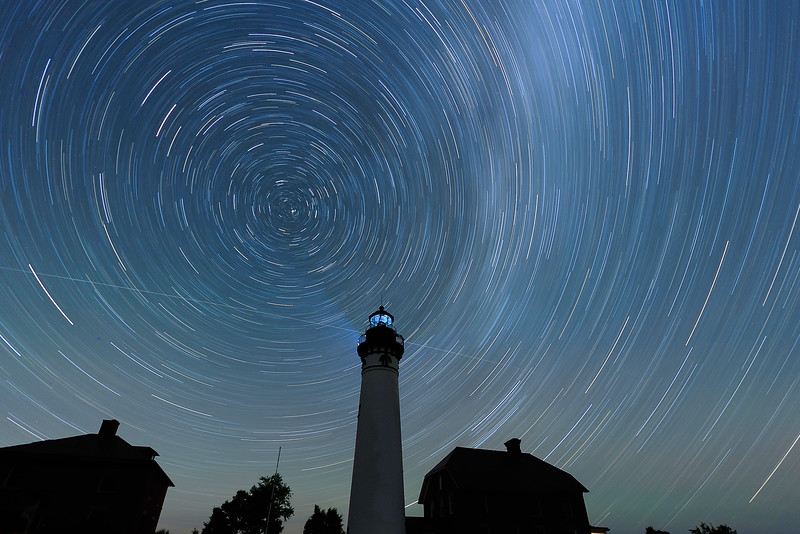 Star trails over Au Sable Light Station