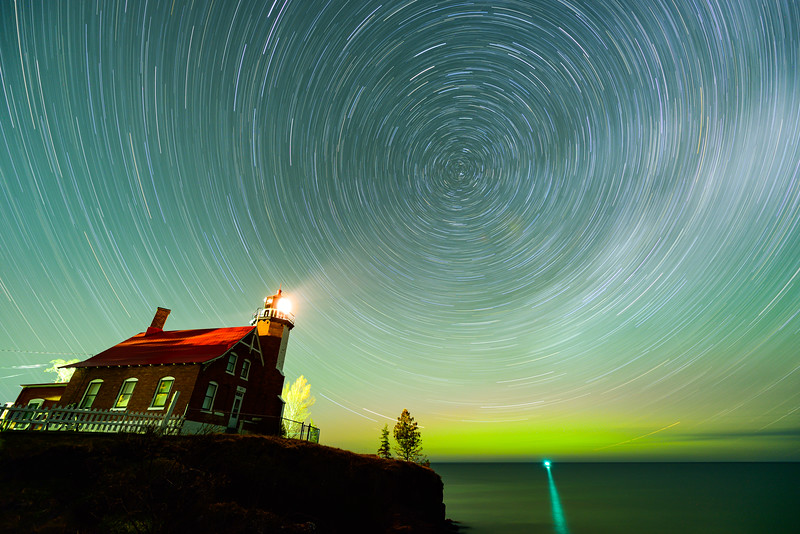 Star trails and aurora at Eagle Harbor Lighthouse 01