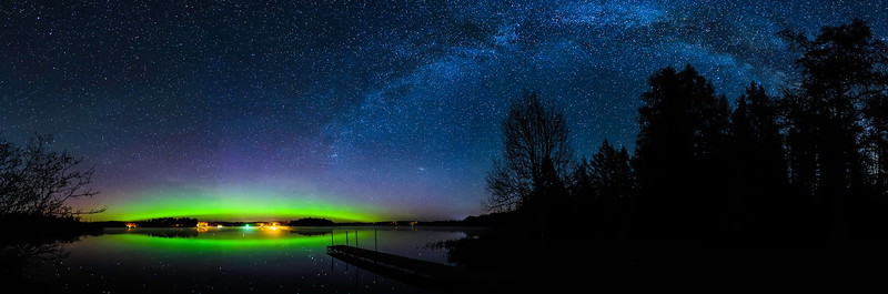 Aurora and Milky Way panorama over Pioneer Lake 01