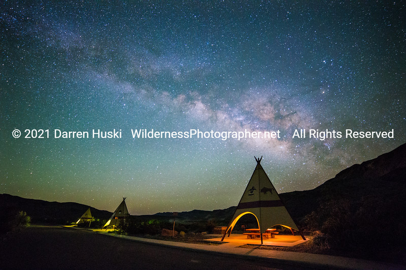 Tepee Rest Area by Night