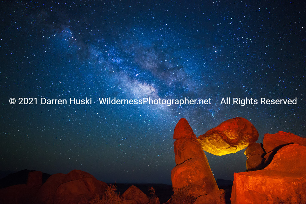 Night Sky and the Balanced Rock