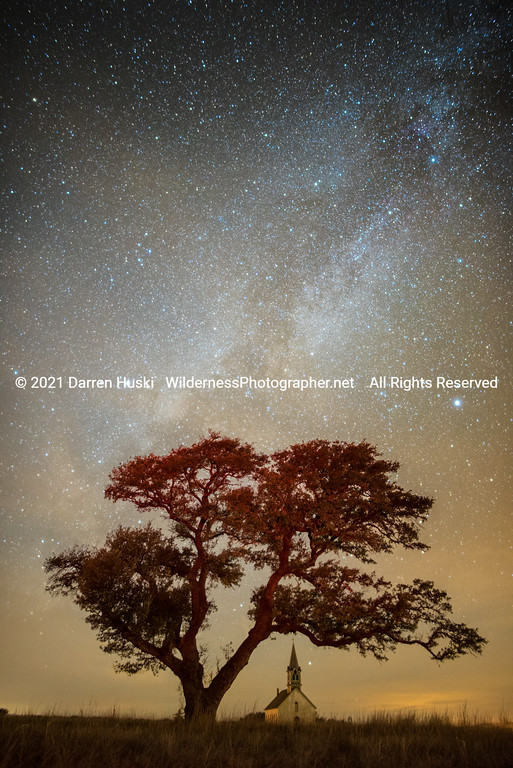 Old Rock Church, Tree and Milky Way