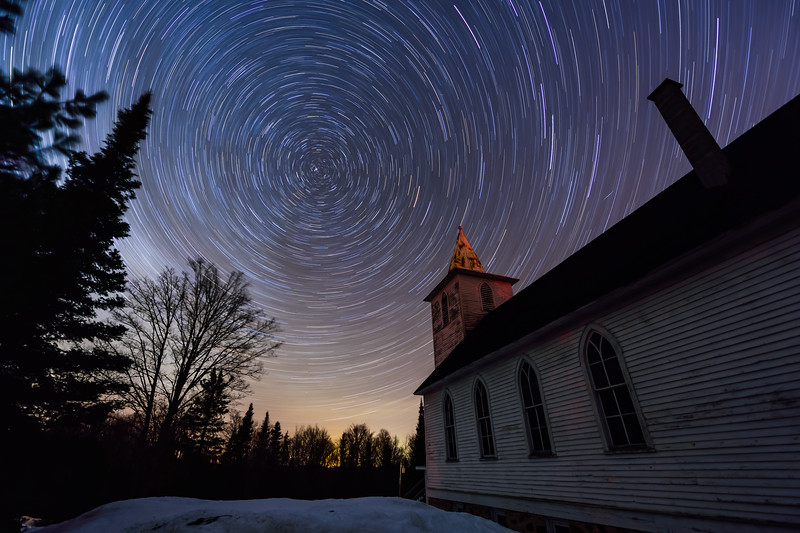Star trails over Bethany Church 01